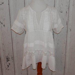 MAEVE Women's Medium White Babydoll Blouse Shirt